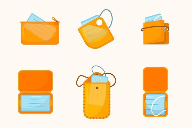 Packung mit aufbewahrungskoffern für gesichtsmasken