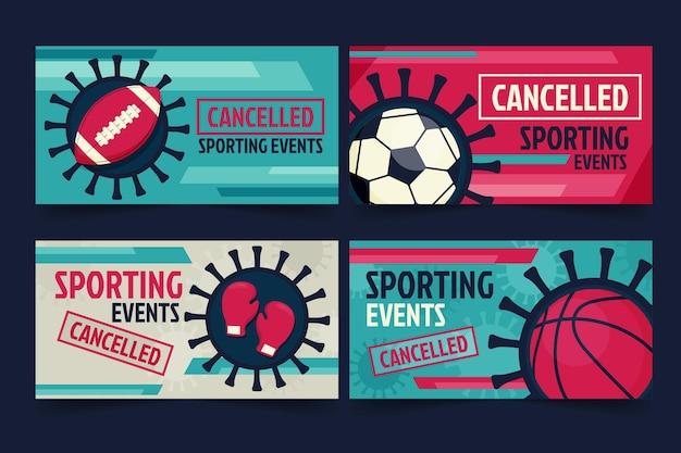 Packung mit bannern für abgesagte sportveranstaltungen