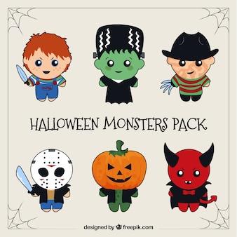 Packung mit berühmten halloween-zeichen