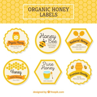 Packung mit bio-honig-etiketten