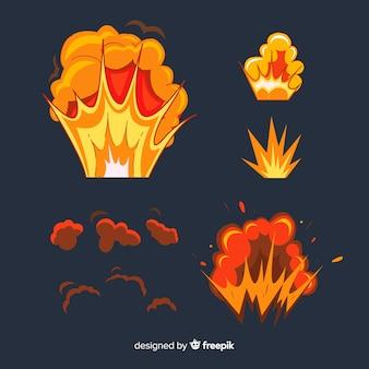 Packung mit bomben und explosionen cartoon-stil