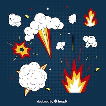 Packung mit bomben und explosionseffekten