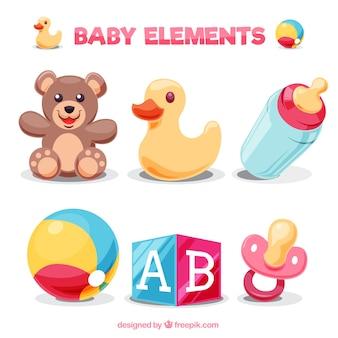 Packung mit bunten baby-elemente