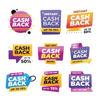 Packung mit bunten cashback-etiketten