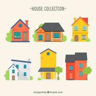 Packung mit bunten häusern
