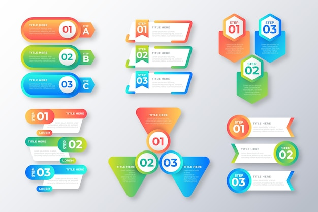 Packung mit bunten infografik-elementen