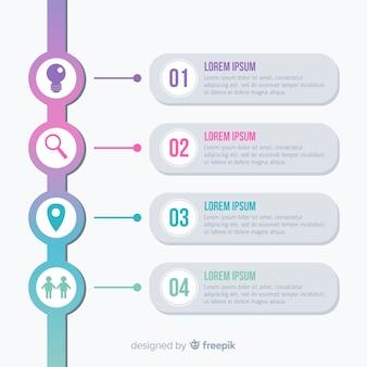 Packung mit bunten infografik schritte