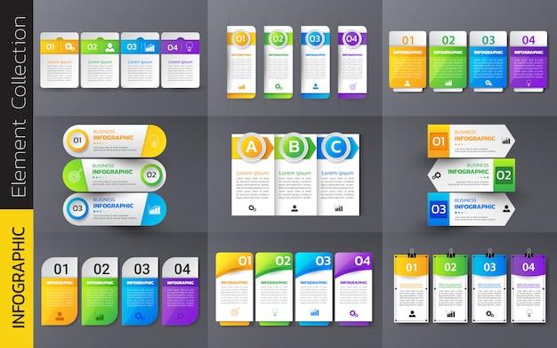 Packung mit bunten infografiken vorlage design.