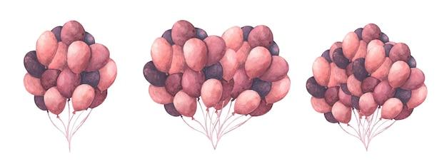 Packung mit bunten luftballons. herzform aus luftballons. grußobjektkunst. aquarellillustration.