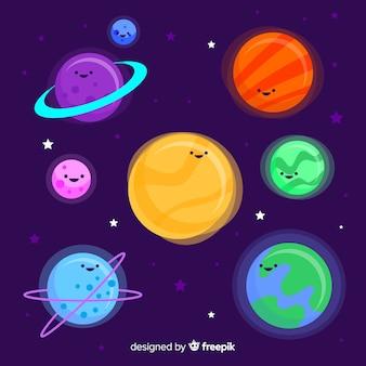 Packung mit bunten planeten im sonnensystem