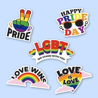 Packung mit bunten pride day-etiketten