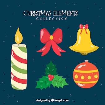 Packung mit dekorativen elementen weihnachten