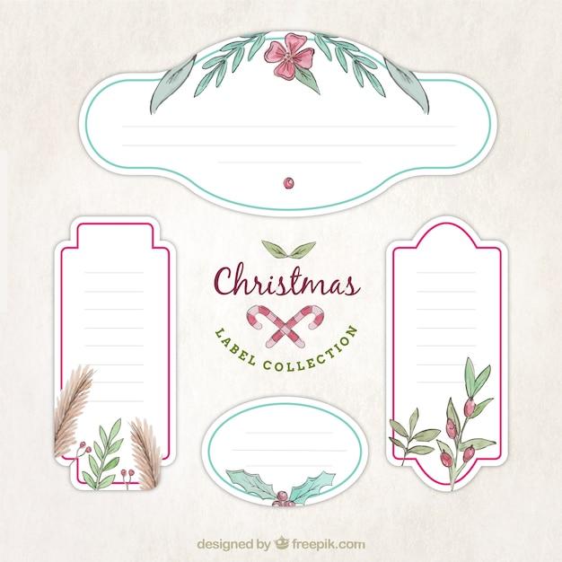 Packung mit dekorativen weihnachtsaufkleber mit blumen details