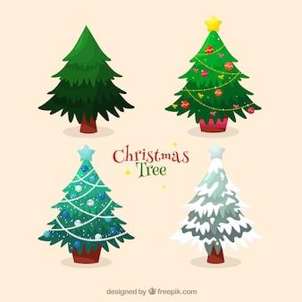 Packung mit dekorativen weihnachtsbäumen