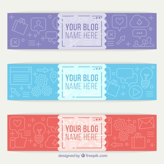 Packung mit drei blog-header mit zeichnungen