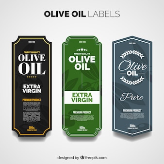 Packung mit drei olivenöl-etiketten