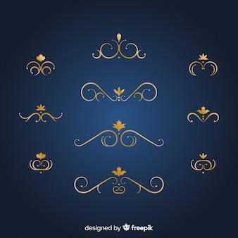 Packung mit eleganten goldenen ornamenten