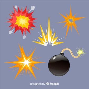 Packung mit explosionseffekten im cartoon-stil