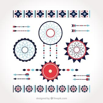 Packung mit fänger und ethnischen dekorativen elementen in flaches design