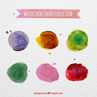 Packung mit farbigen aquarell flecken