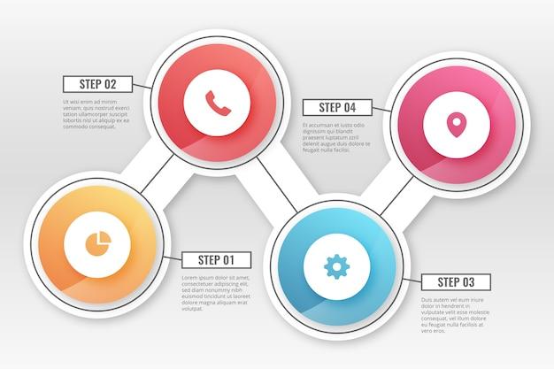 Packung mit farbverlauf infografik schritte