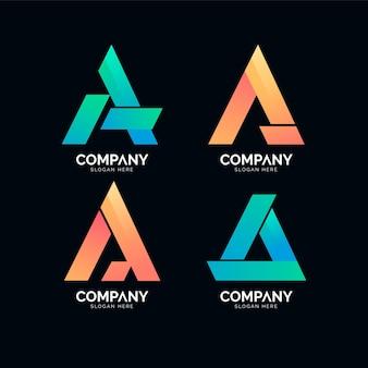 Packung mit farbverlauf und logo-vorlagen
