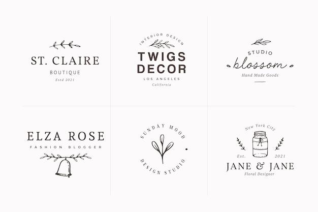 Packung mit femininen handgezeichneten logo-designvorlagen