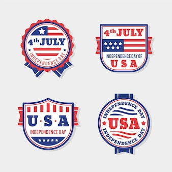 Packung mit flachem design 4. juli abzeichen