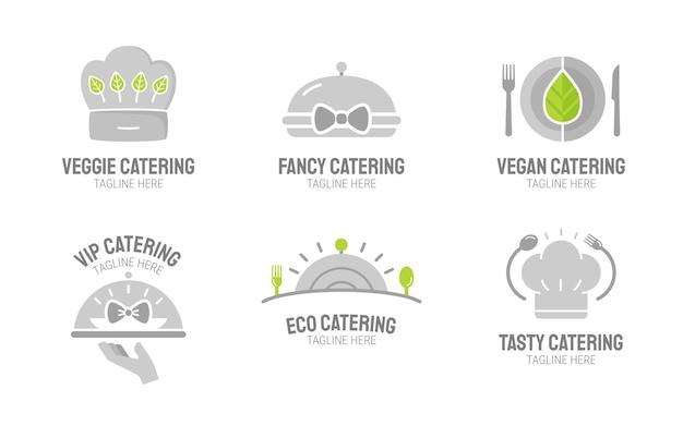 Packung mit flachen catering-logo-vorlagen