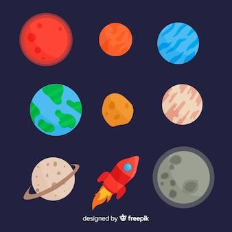 Packung mit flachen design-planeten
