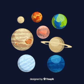 Packung mit flachen design-sonnensystem planeten