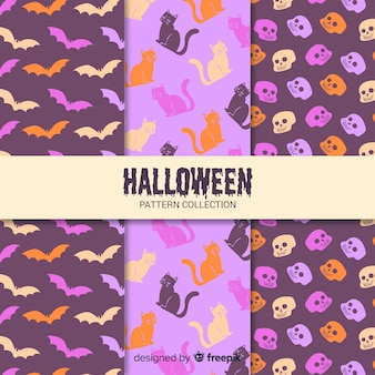 Packung mit flachen halloween-mustern