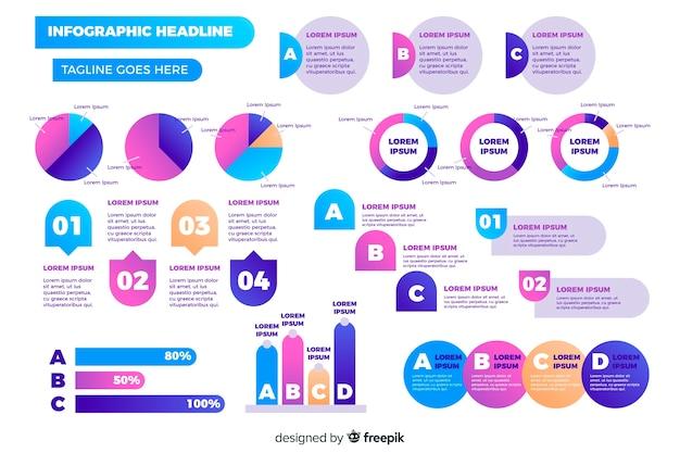Packung mit flachen infografik-elementen