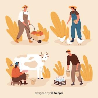 Packung mit flachen landarbeitern