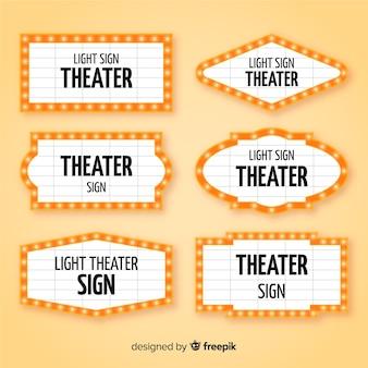 Packung mit flachen theater zeichen