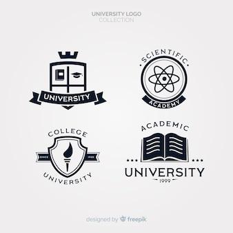 Packung mit flachen Universitätslogos