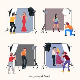 Packung mit fotografen, die verschiedene aufnahmen machen