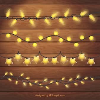 Packung mit gelben weihnachtsbeleuchtung