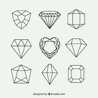 Packung mit geometrischen diamanten