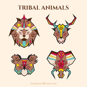 Packung mit geometrischen tiere in ethnischen stil