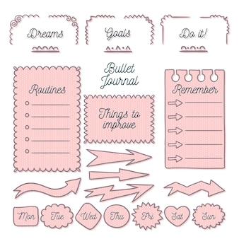 Packung mit gezeichneten aufzählungszeichenelementen