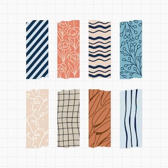 Packung mit gezeichneten schönen washi-bändern