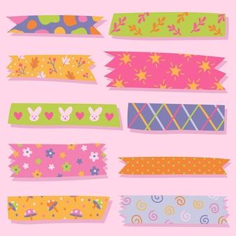 Packung mit gezeichneten süßen washi-bändern