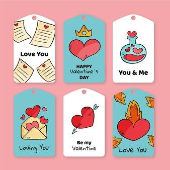 Packung mit gezeichneten valentinstag-etiketten