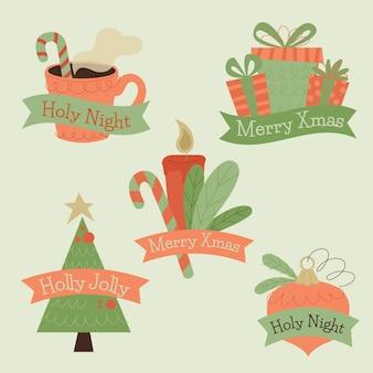 Packung mit gezeichneten weihnachtsabzeichen