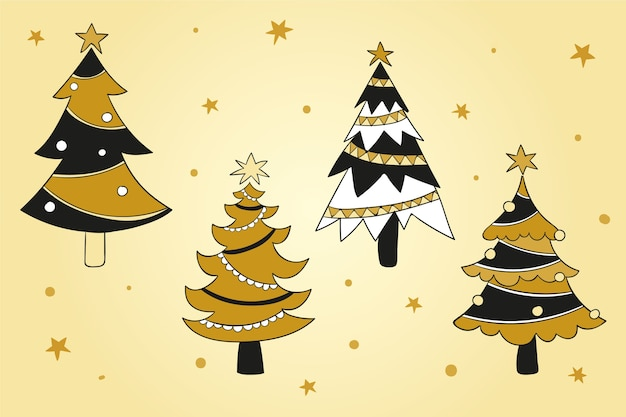 Packung mit gezeichneten weihnachtsbäumen mit ornamenten