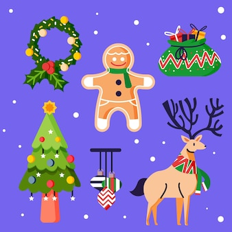 Packung mit gezeichneten weihnachtselementen