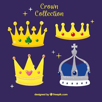 Packung mit glänzenden kronen