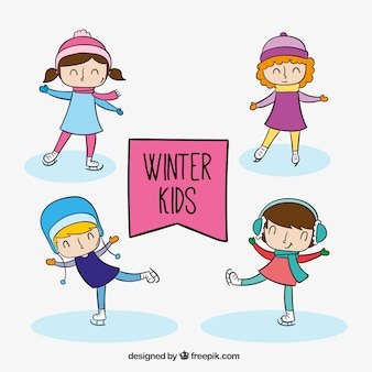 Packung mit glücklichen kindern skating tragen winterkleidung