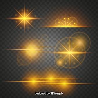 Packung mit goldenen lichteffekten